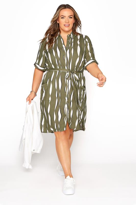 Plus Size  Green Striped Belted Shirt Dress