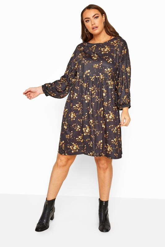 LIMITED COLLECTION Black Mustard Floral Balloon Sleeve Dress