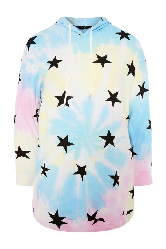 dla puszystych Multicoloured Tie Dye Star Print Hoodie