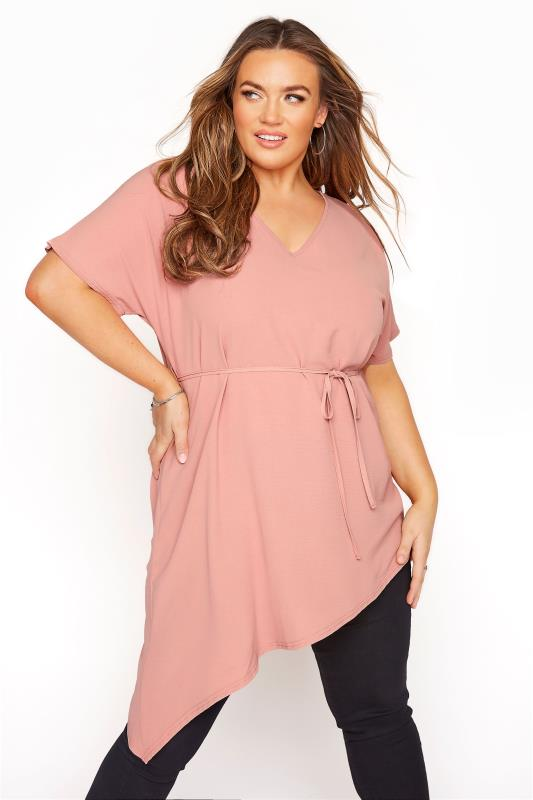Plus Size  YOURS LONDON Pink Belted Asymmetric Crepe Blouse