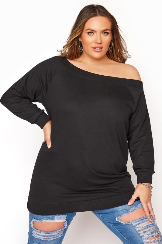 Grande Taille Black Off The Shoulder Sweatshirt