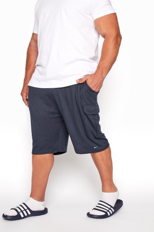 BadRhino Navy Essential Cargo Jogger Shorts