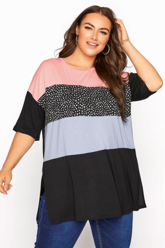 Plus Size  Pink Colour Block T-Shirt