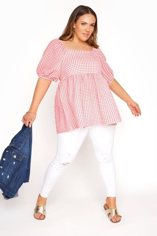 LIMITED COLLECTION Coral Pink Gingham Milkmaid Top