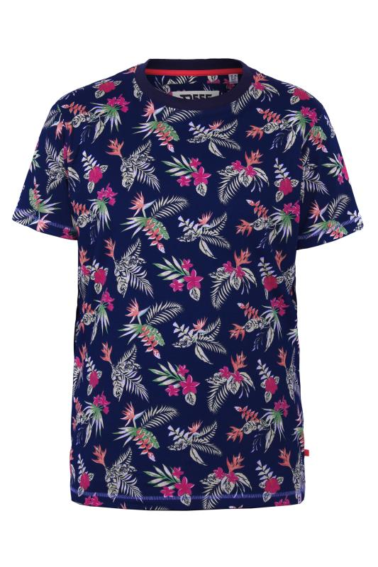 Men's  D555 Navy Hawaiian Printed T-Shirt