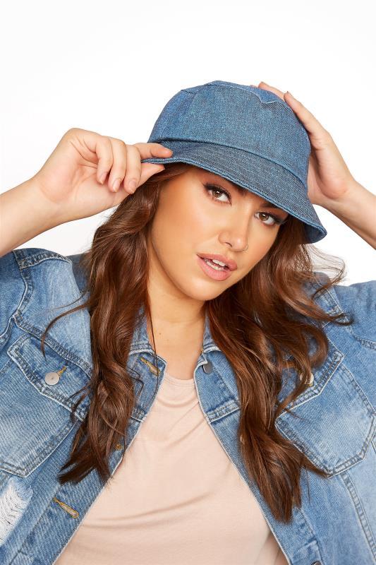 Plus Size  Dark Blue Denim Bucket Hat