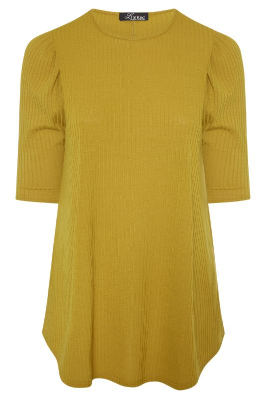 LIMITED COLLECTION Mustard Yellow Puff Sleeve Ribbed Top_F.jpg