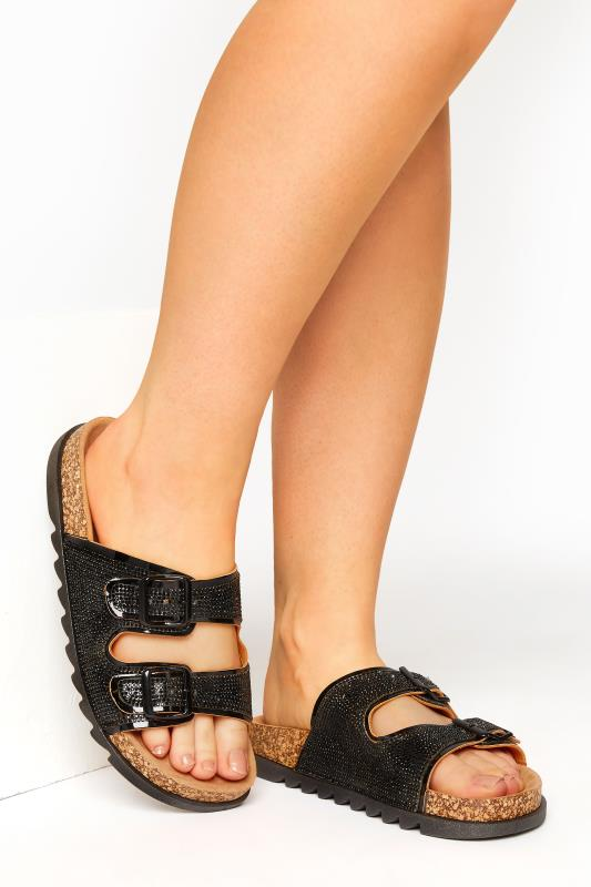 Plus Size  Black Sparkle Footbed Sandal In Wide Fit