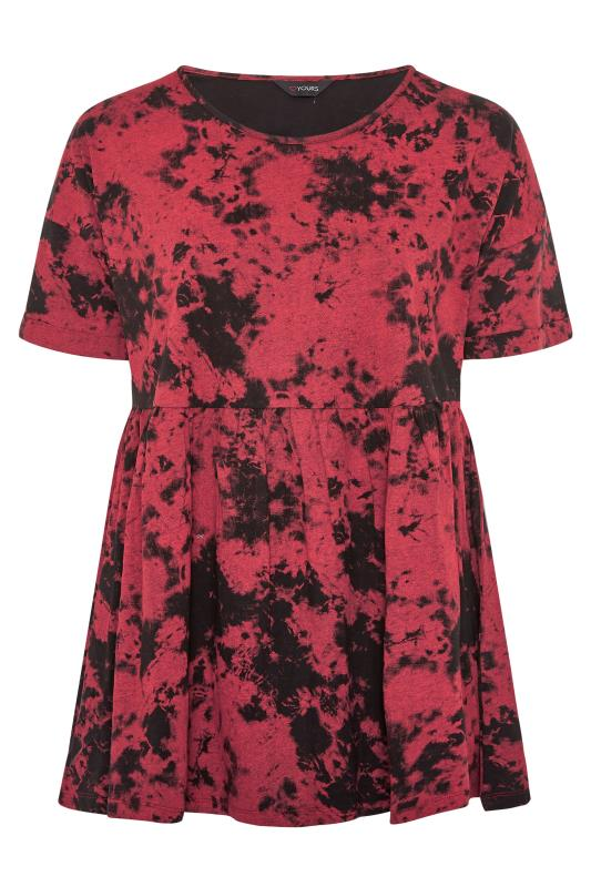 Pink Tie Dye Cotton Peplum Top_F.jpg