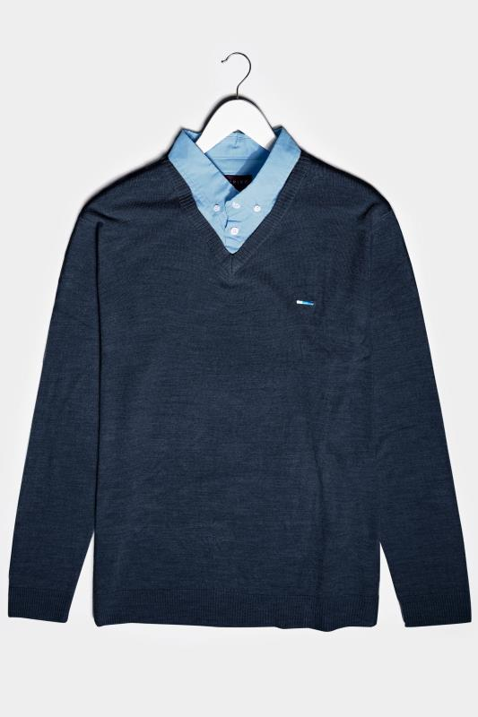 Men's  BadRhino Navy & Light Blue Essential Mock Shirt Jumper
