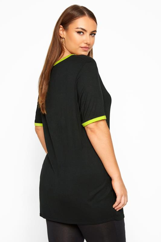 LIMITED COLLECTION Black & Lime Green Ringer T-Shirt