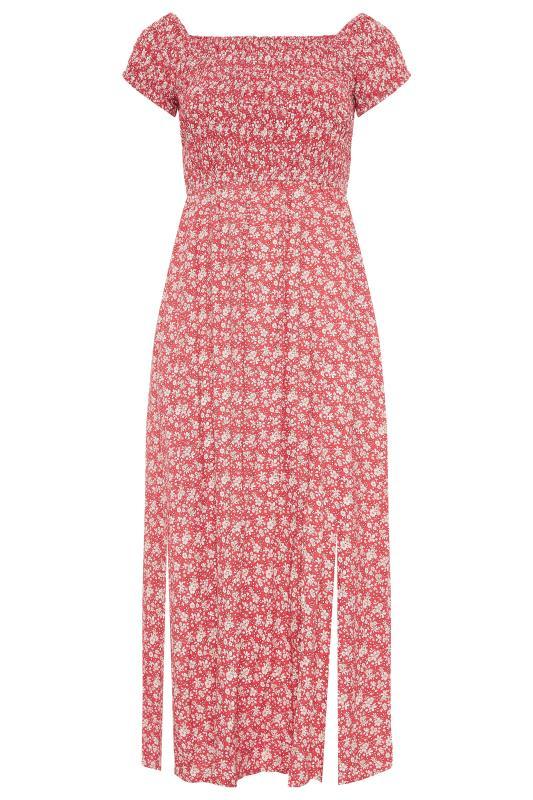 Red Ditsy Floral Shirred Bardot Maxi Dress_F.jpg