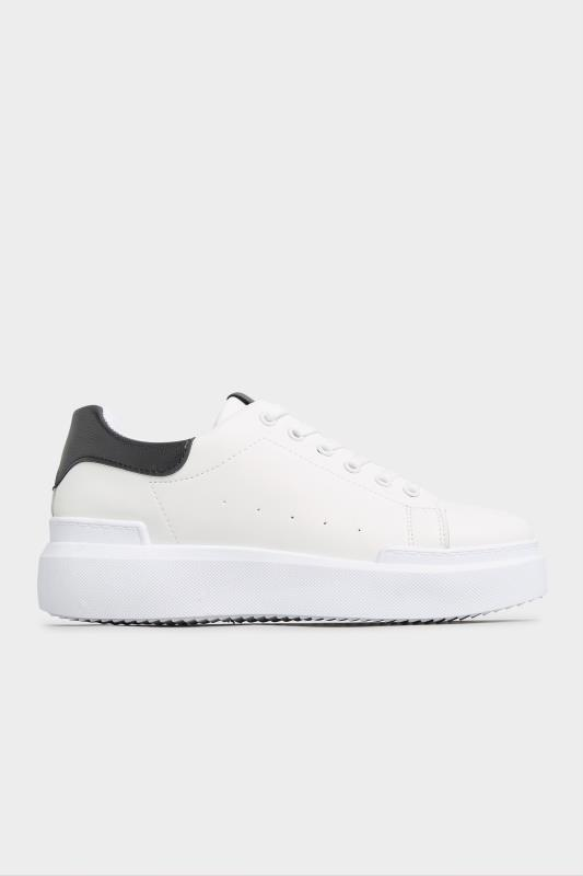 LIMITED COLLECTION White and Black Flatform Trainer In Wide Fit_A.jpg