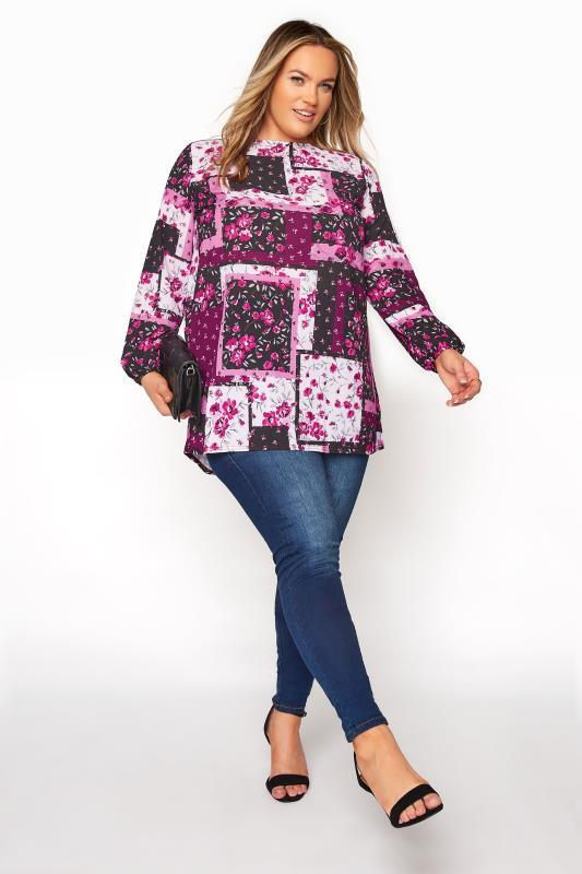 YOURS LONDON Pink Floral Patchwork Blouse_B.jpg