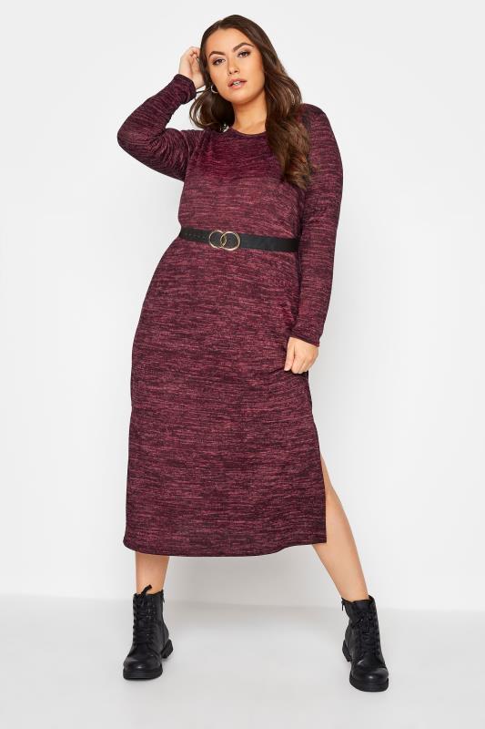 Plus Size  Wine Red Long Sleeved Split Knitted Jumper Dress