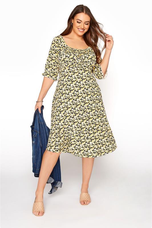 YOURS LONDON Yellow Ditsy Milkmaid Dress_B.jpg