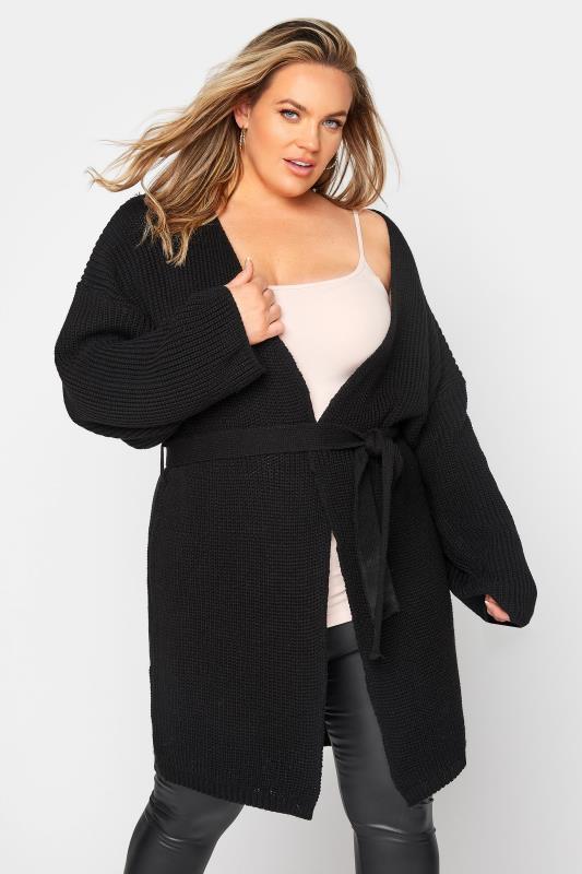 Tallas Grandes Black Wide Sleeve Belted Cardigan