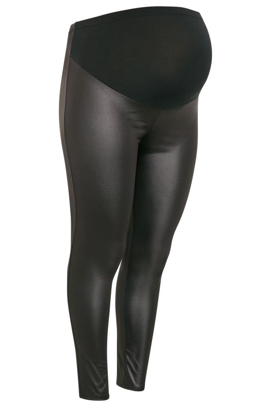 BUMP IT UP MATERNITY Black Leather Look Leggings