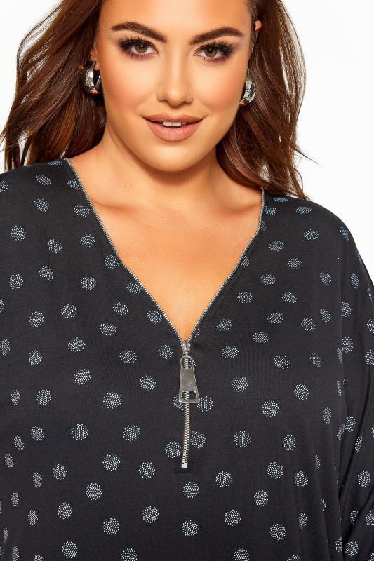 Black & Blue Spot Print Zip Neck Top