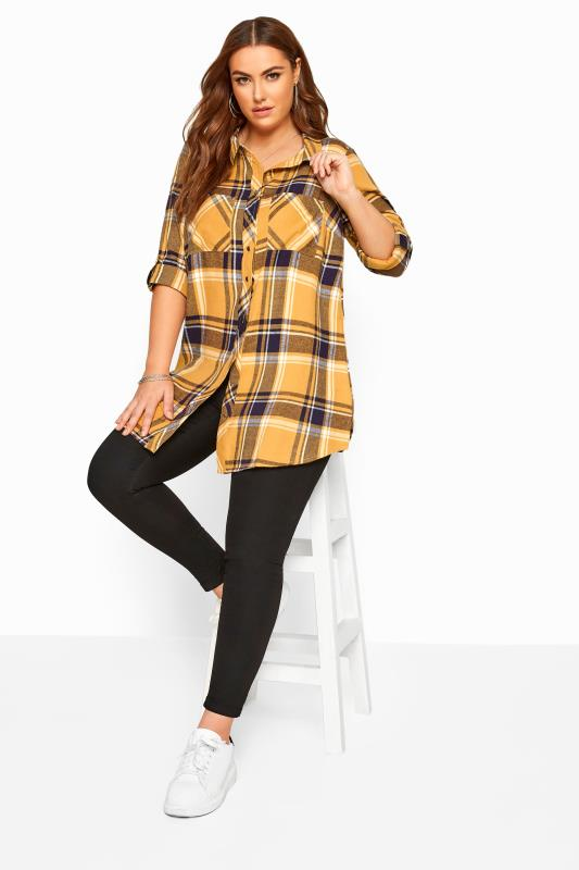 Mustard Yellow Check Studded Boyfriend Shirt