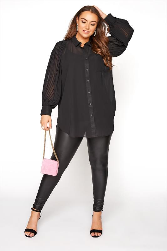 YOURS LONDON Black Pleated Balloon Sleeve Shirt_B.jpg