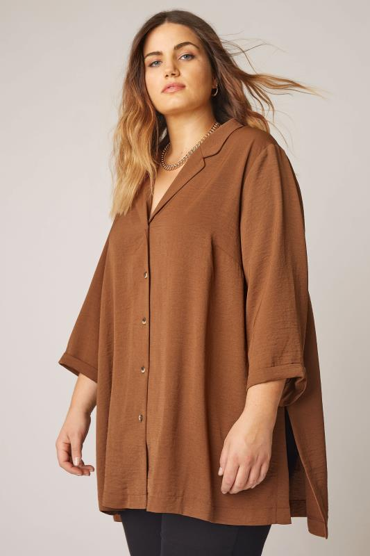 Plus Size  THE LIMITED EDIT Brown Open Collar Blouse