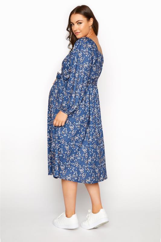 BUMP IT UP MATERNITY Blue Ditsy Wrap Dress_C.jpg