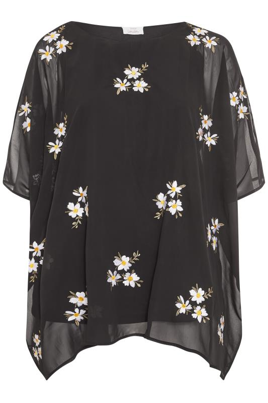 YOURS LONDON Black Daisy Embroidered Cape Top_F.jpg