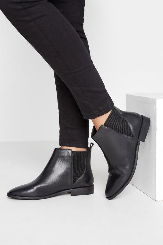 Tall  LTS Black Leather Chelsea Boots