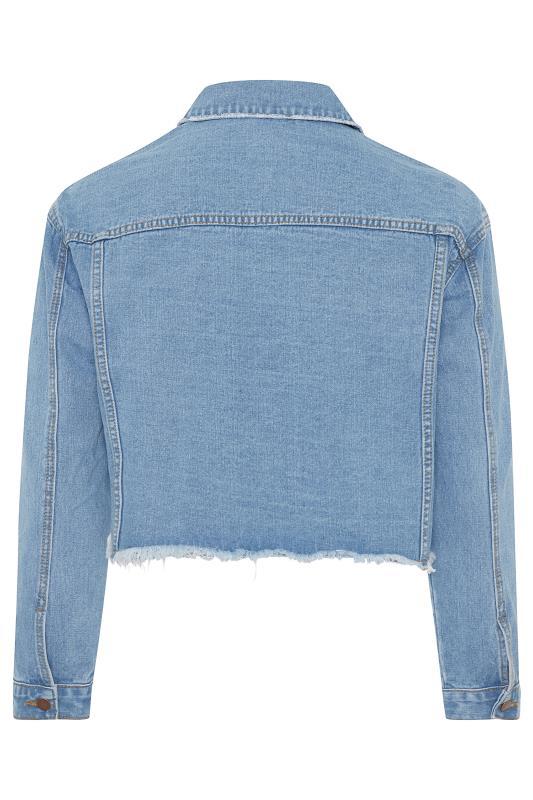 Blue Distressed Cropped Denim Jacket