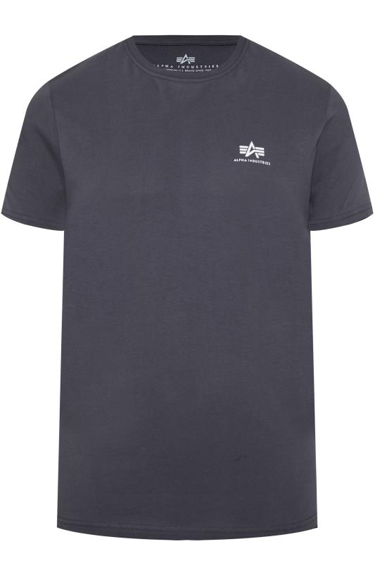 Plus-Größen T-Shirts ALPHA INDUSTRIES Navy Basic Logo T-Shirt