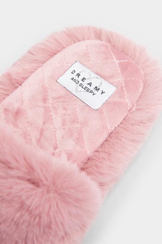 Dusky Pink Vegan Faux Fur Slippers In Regular Fit