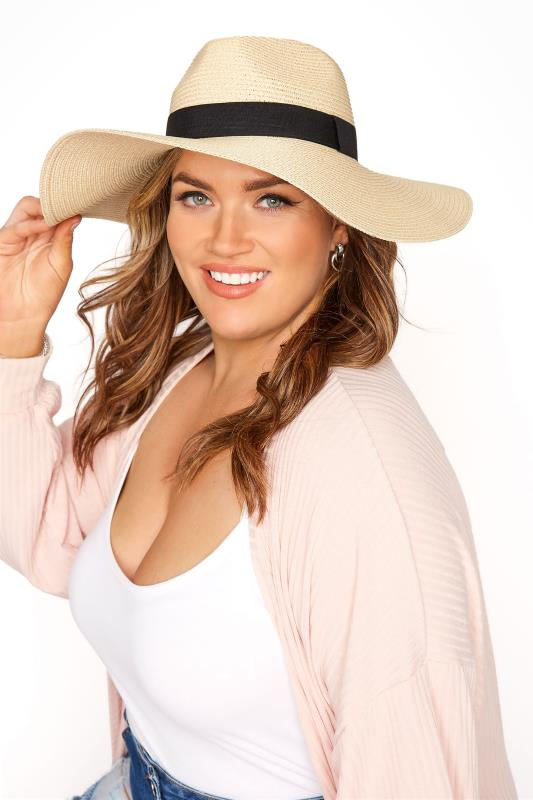 Plus Size  Ivory Straw Wide Brim Fedora Hat