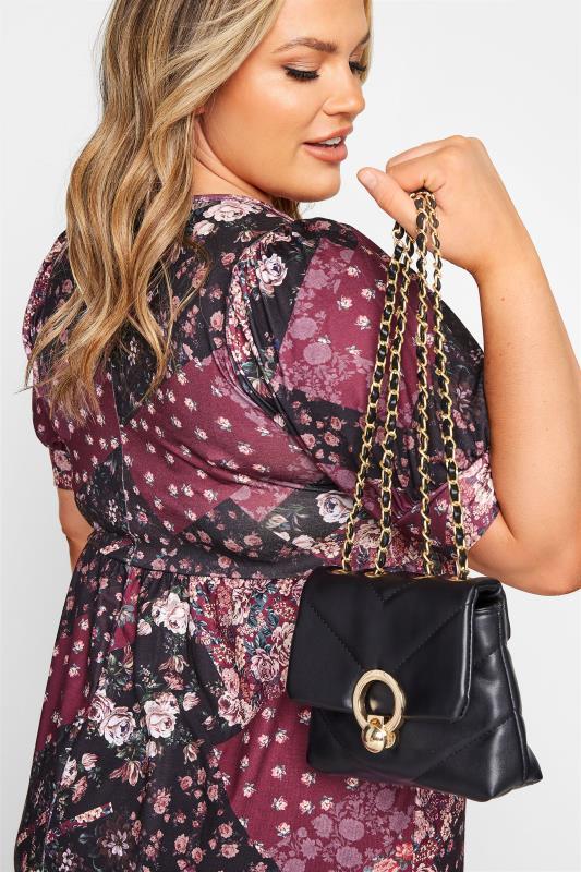 Black Ring Detail Crossbody Bag