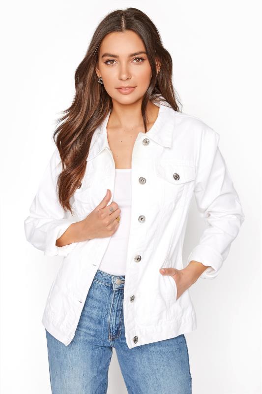 Tall  LTS White Denim Distressed Jacket