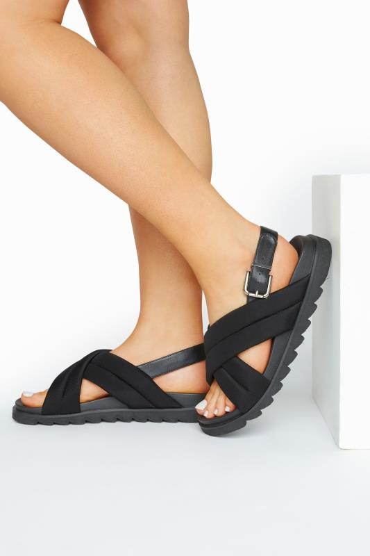 Großen Größen  LIMITED COLLECTION Black Padded Sandals In Extra Wide Fit