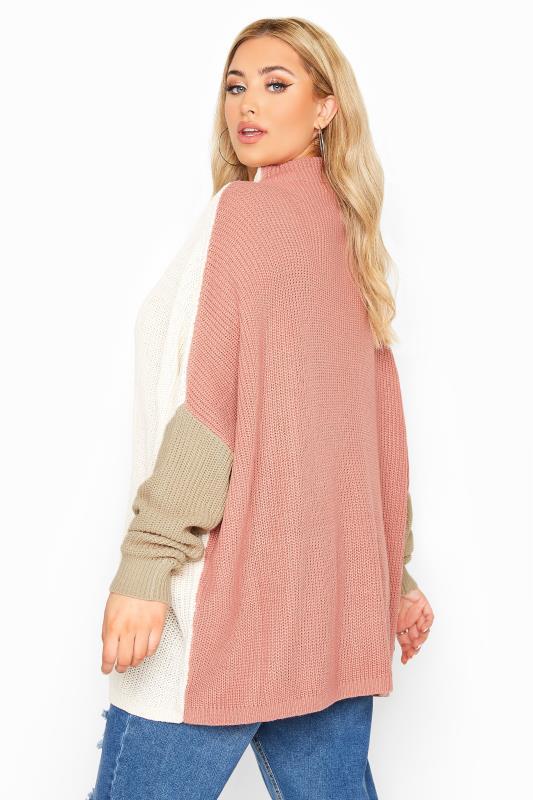 Cream Colour Block Oversized Knitted Jumper_C.jpg