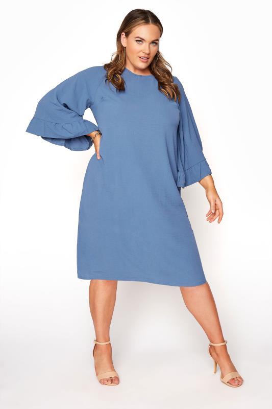 Plus Size  YOURS LONDON Denim Blue Ruffle Sleeve Shift Dress