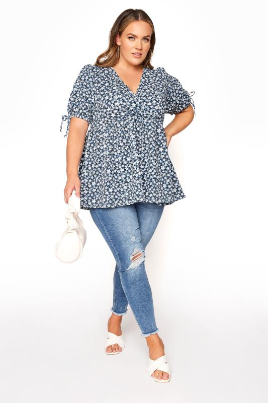 LIMITED COLLECTION Blue Floral Wrap Front Smock Top_B.jpg