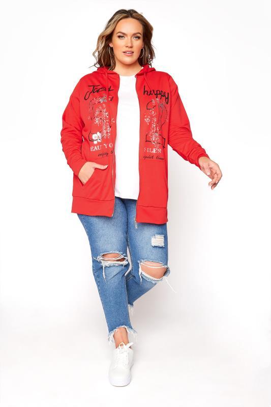 Rote Sweatjacke mit Kapuze & Print