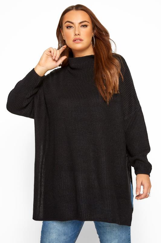 Black Split Hem Chunky Knitted Jumper
