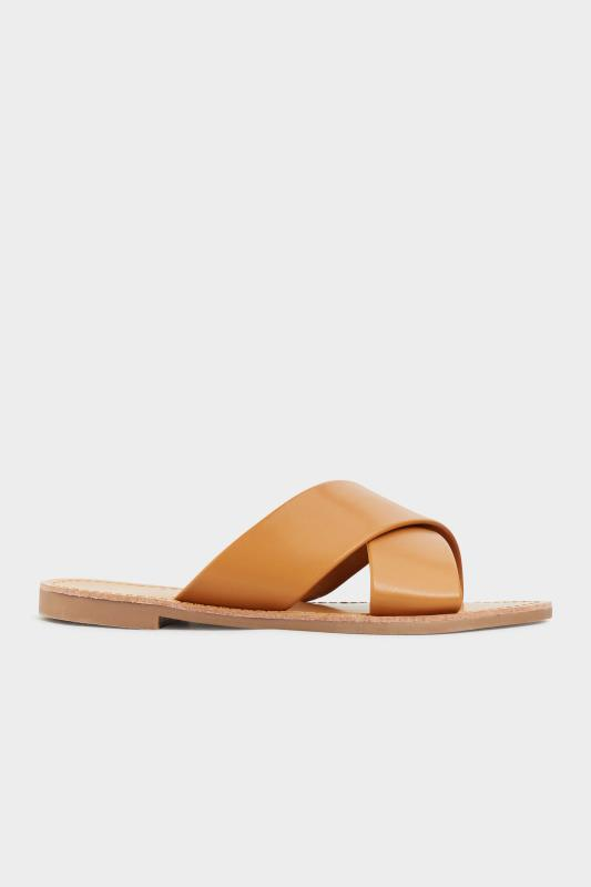 LIMITED COLLECTION Tan Cross Strap Mules In Extra Wide Fit_A.jpg