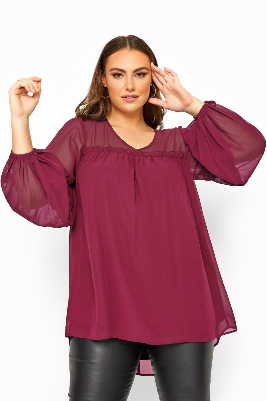 YOURS LONDON Burgundy Chiffon Frill Blouse