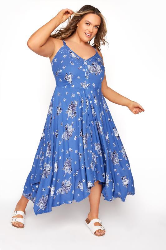 Blaues florales Kleid mit Taschentuch Saum