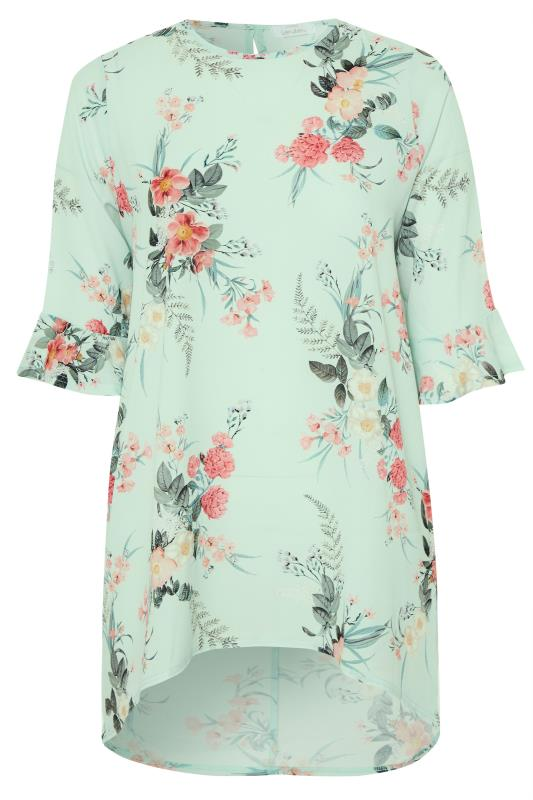 Plus Size  YOURS LONDON Sage Green Floral Flute Sleeve Tunic