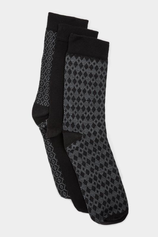 3 PACK BadRhino Black Textured Socks