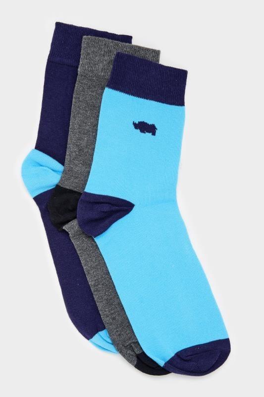 3 PACK BadRhino Navy, Blue & Grey Socks With Contrast Heel