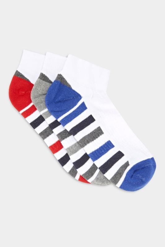 3 PACK BadRhino White Stripe Sports Liner Socks