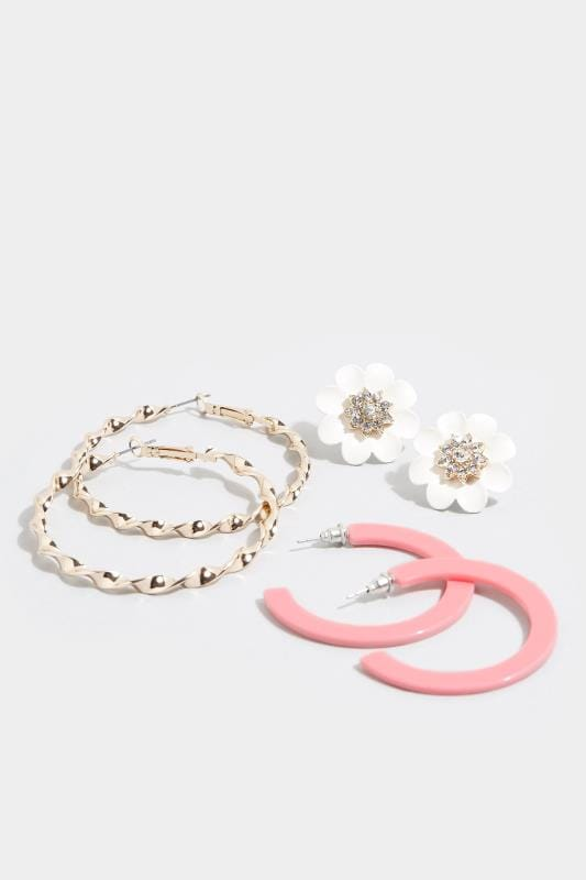 3 PACK Flower Stud & Hoop Earrings