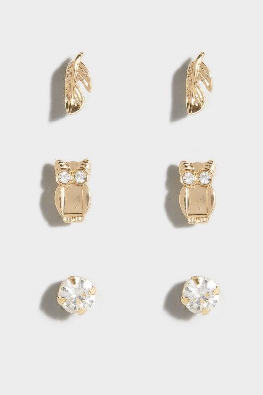 3 PACK Gold Owl Stud Earrings